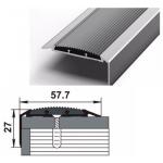 Порог-угол Д70 57,7х27мм алюминиевый анодированный Серебро вставка серая (НЕ) длина 1,8м