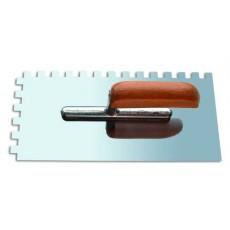 Кельма зубчатая из нержавеющей стали 270*130мм (деревянная ручка, зуб 8*8мм) 1401008
