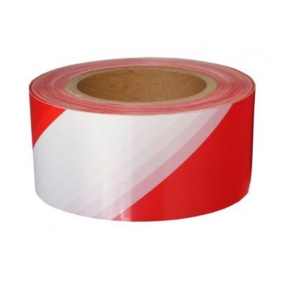 Лента сигнальная 50мм* 90м Klebebander для ограждений, красно-белая
