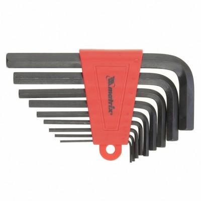 Набор ключей имбусовых HEX, 1,5–10 мм, CrV,  9 шт., оксидированные, короткие,// MATRIX  11226