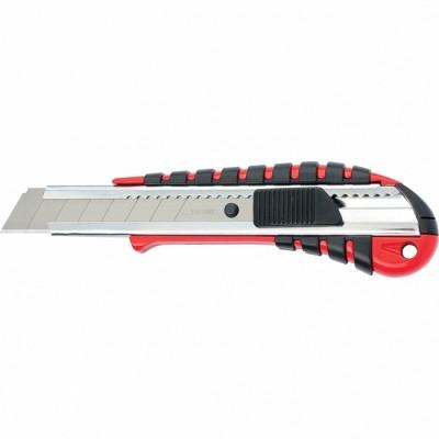 Нож 18мм выдвижное лезвие металлическая направляющая эргономичная двухкомпонентная рукоятка//MATRIX 78938