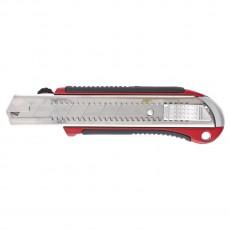 Нож 25 мм, выдвижное лезвие, усиленная металлическая направляющая, металлическая обрезиненная ручка 78959