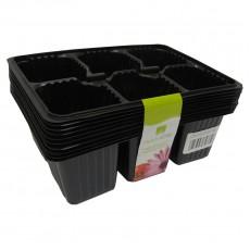 Мини-кассета рассадная 6 ячеек 10 шт, черная