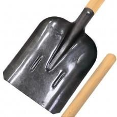 Лопата совковая ЛСП Урожайная сотка, рельсовая сталь с ребрами жесткости окрашенная,деревянный черенок S-504-3