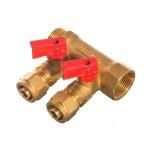 """Коллектор 3/4""""х16х2 с шаровым краном для металлпластиковых труб СТМ"""