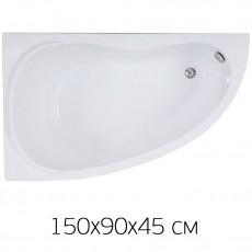 Ванна на раме Bas ALEGRA 150 х 90 (левая) без фронтальной панели, БЕЗ сифона