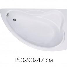 Ванна на раме Bas VEKTRA 150 х 90 (правая) без фронтальной панели, БЕЗ сифона