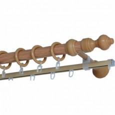 Карниз Д28 металлопластик с  рельсой 1,6м дуб