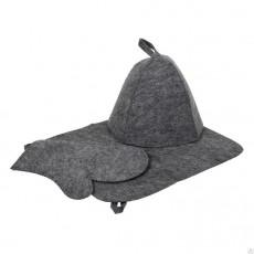 """Набор из трех предметов (Шапка, коврик, рукавица) серый """"Hot Pot"""""""